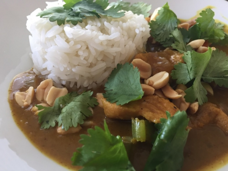 Malaysian chicken satay curry.